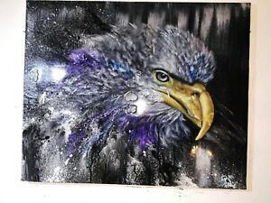 Peinture tableau huile sur toile surréaliste format 61/50 cm série animalière