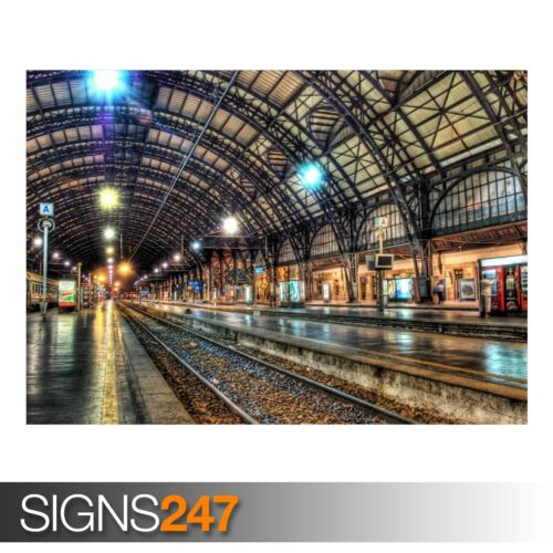 TRAIN POSTER AB022 INSIDE A TRAIN STATION Photo Poster Print Art * All Sizes