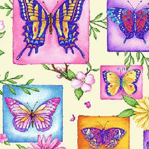 50 x 55cm Fat Quarter Wildflower Fairies Butterflies Cotton Quilting Fabric