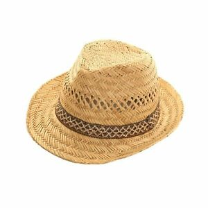 68cce7d39bd604 Image is loading Mens-Ladies-Straw-Trilby-Fedora-Hat-Summer-Sun-