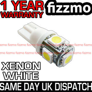 XENON-WHITE-5-SMD-LED-501-T10-W5W-PUSH-WEDGE-360-DEG-SIDE-LIGHT-BULB-UK