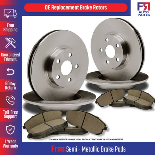 Front+Rear Kit High-End 8lug 8 Semi-Met Pads 4 Brake Rotors Fits: Ford