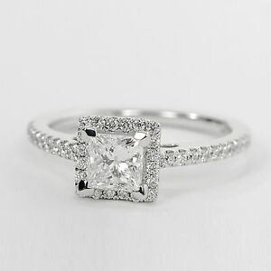 1-04-Ct-Princess-Solitaire-Diamond-Wedding-Engagement-Ring-14k-White-Gold-Size-O
