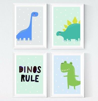 4 Modern Nursery Prints Dinosaur Dots Dinos Rule Trex Wall Art Room Pictures
