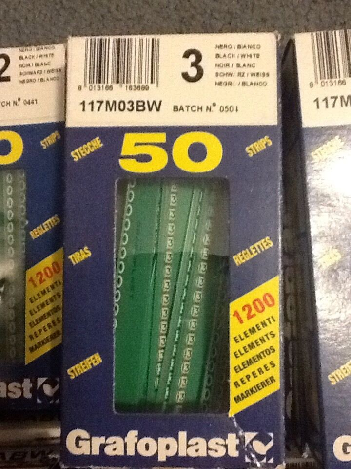 Grafoplast 117M03BW NUMBER  3  50 Strips NEW IN BOX Wire Markers