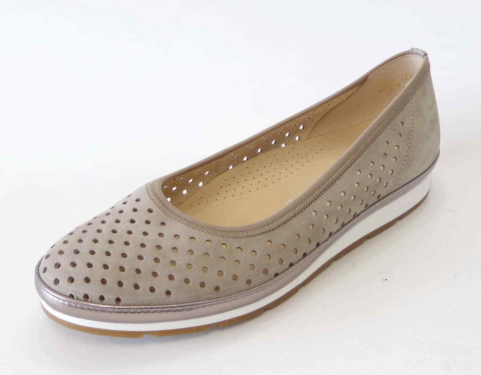 Zapatos casuales salvajes tiempo Descuento por tiempo salvajes limitado Gabor Comfort Ballerina 401 33 visone grau beige Gummizug Einlage Leder Weite G e743a2