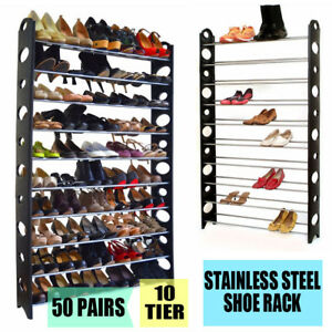 50-Pair-10-Tier-Adjustable-Stainless-Steel-Space-Saving-Storage-Shoes-Tower-Rack