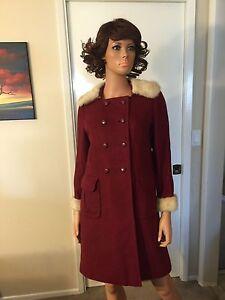 Jacket Fur Fashion First Small Cuffs Coat Collar Burgundy Long xfgCq