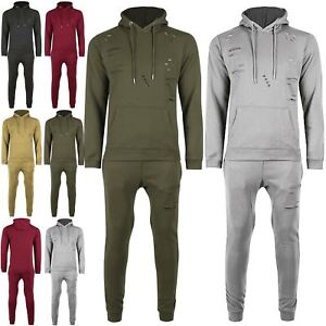 Helpful Mens Ripped Destroyed Cut Zip Up Hooded Top Pockets Trouser Loungewear Tracksuit Men's Clothing Activewear