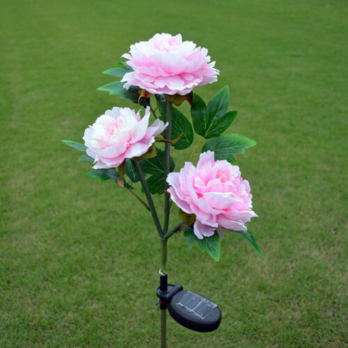 3 LED Solar Power Peony Flower Lights For Garden Patio Backyard Stake Lamp Decor