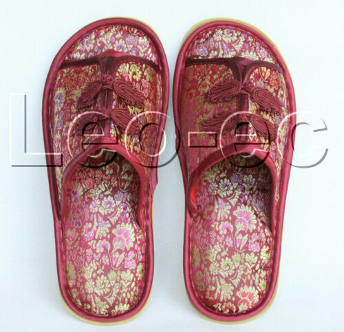 wine red silk sandal children Women/'s Men/'s Shoes Girls-Shoes Slippers V1167