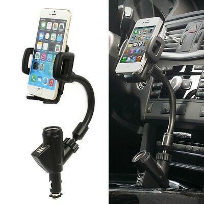 Dual USB Car Cigarette Lighter Socket Charger Mount Holder For Cell Phone iPhone
