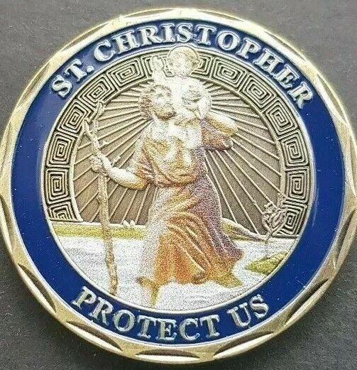 St Christopher protegernos desafío moneda Soporte de moneda Libre Y Nuevo Equipada