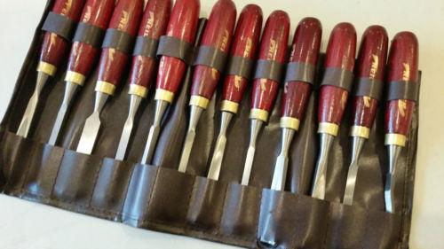 12 pc set. Wood Chisels set Wooden Handles