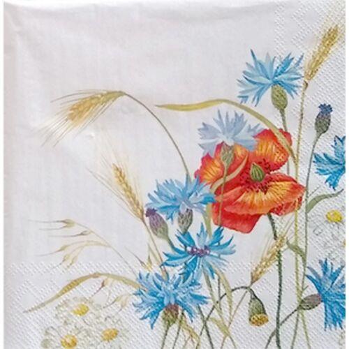 4 serviettes en papier napkins découpage collage 33 cm FLEUR BLE F 1024