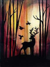 ABSTRACT Deer Stag Woods Painting Canvas Contemporary Modern Resin Glass Finish