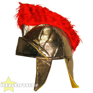 b058ff5d4fc ADULTS GOLD ROMAN HELMET SOFT HAT WITH RED PLUME GLADIATOR WARRIOR ...