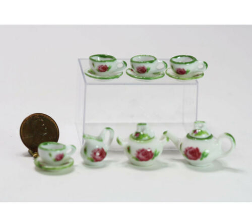 Dollhouse Miniature Lovely Pink Rose Tea Set with Green Trim SaLe!!