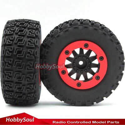 4pcs RC 1//10 Short Course Tires /& Beadlock Wheels Hex 12mm For Traxxas Slash