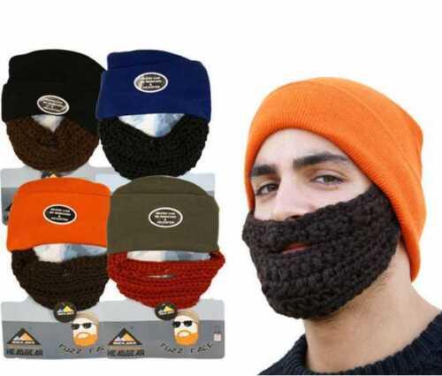 Unisex Novelty Joke Beanie Hat With Detachable Fuzzy Beard Rockjock Xmas Gift