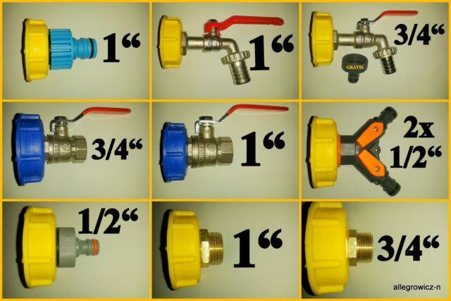"""Wasserhahn  ADAPTERS  Regenwassertank 1"""" 3/4"""" Tank IBC Container 1000l Kugelhahn"""
