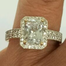 Woman 14k real Yellow Gold Halo man made diamond Emerald Cut Engagement Ring S 7