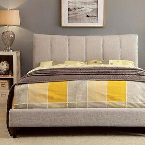Ennis Queen size bed in gray color, upholstery fabric, brand new.