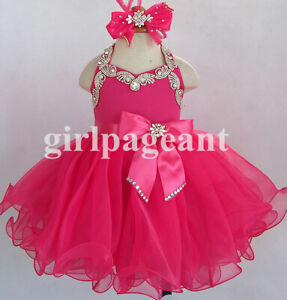 hotpink-Infant-toddler-baby-children-beading-Pageant-Dress079H-with-hairbow
