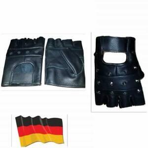 Fingerlos Lederhandschuhe Fitness Handschuhe Fingerlos Biker Handschuhe Schwarz