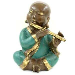 Bouddhiste-Moine-Figure-avec-Flute-21cm-Bronze-Statue-Chine-asienlifestyle