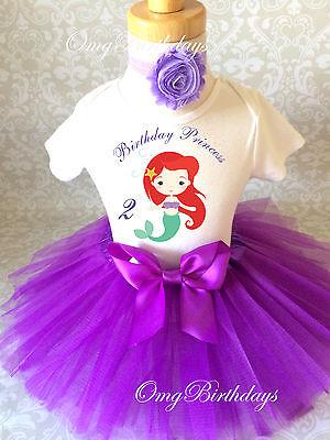 Ariel Little Mermaid Princess Purple 2nd Birthday Shirt Tutu Outfit Set girl