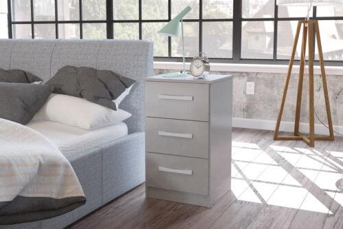 Lynx 3 Drawer Bedside Chest Gloss Black Grey White Walnut Drawers Cabinet