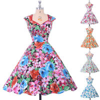 Vintage Retro 50s 60s Floral V-Neck Causal Evening Party Tea Swing Pinup Dress