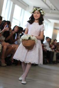 f242323e684  1290 NEW Oscar de la Renta Girls Bibiana Flower Pale Pink Dress ...