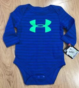 Baby UNDER ARMOUR One Piece Bodysuit Size 3 6 Months Blue And Lime ... 0440d4182