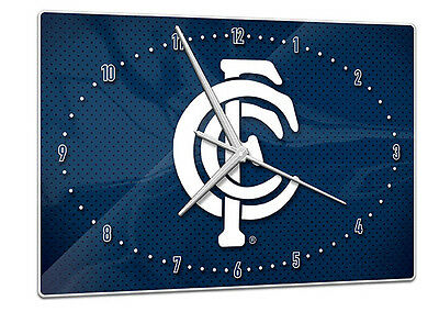 Licensed AFL CARLTON BLUES Aussie Rules Glass Clock Pool Cue Dart Room Man Cave