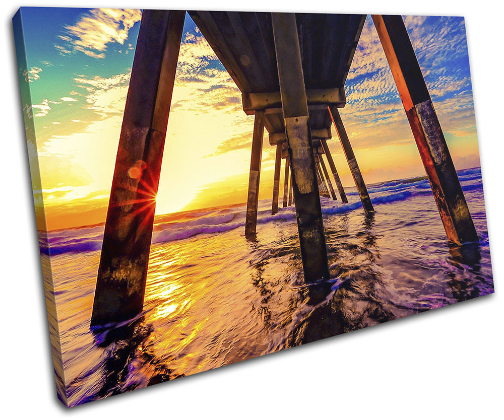 Sunset Beach Waves Pier Landscapes SINGLE TOILE murale ART Photo Print