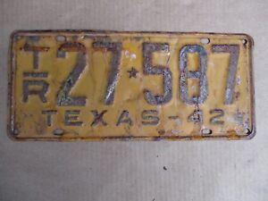 1942-TEXAS-TRAILER-LICENSE-PLATE-ORIGINAL-FORD-CHEVY-GMC-42-HOT-RAT-STREET-ROD
