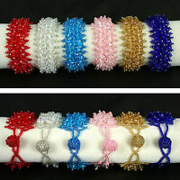 Faceted Crystal Beaded Braided Bracelet Red Pink Blue Jewelry Girl's Accessories