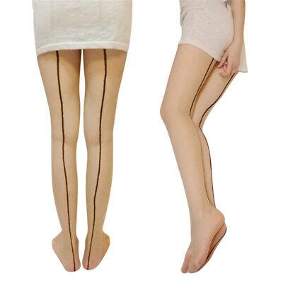 Women 10D High Stockings Cuban Heel Back Seam Hosiery Clubwear Girls Long Socks