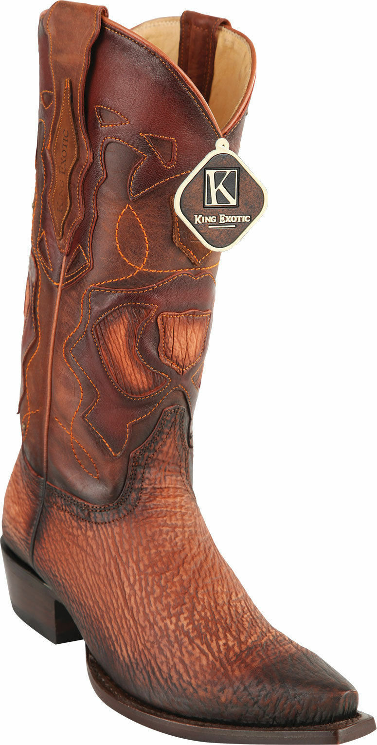 KING EXOTIC COGNAC SNIP TOE GENUINE SHARK WESTERN COWBOY BOOT 94DR0903 EE