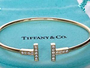 3a23dee2b TIFFANY T WIRE BRACELET 18K yellow gold with diamonds medium | eBay