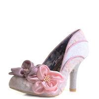 Womens Irregular Choice Peach Melba Pink Floral High Heel Court Shoes Sz Size