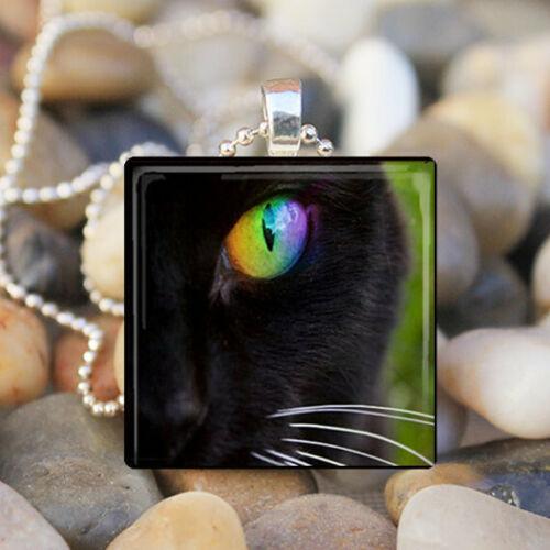 BLACK CAT EYE Kitty Cat Green Eye Glass Tile Pendant Necklace