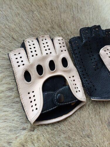 Men/'s Fingerless Deerskin Driving Business Class Leather Gloves