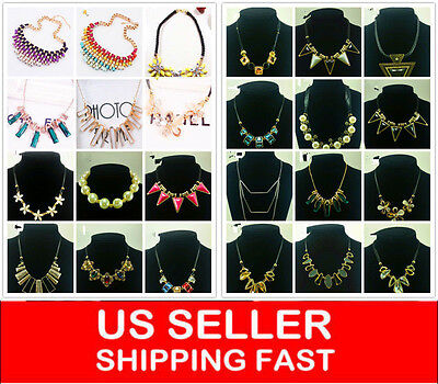 NEW Charm Jewelry Pendant Chain Crystal Choker Chunky Statement bib Necklace A1