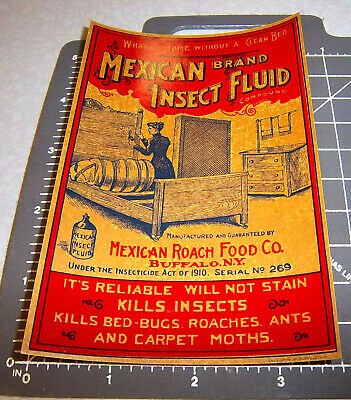 1910s Mexican Insect Fluid Label Great graphics /& colors Vintage Original Label