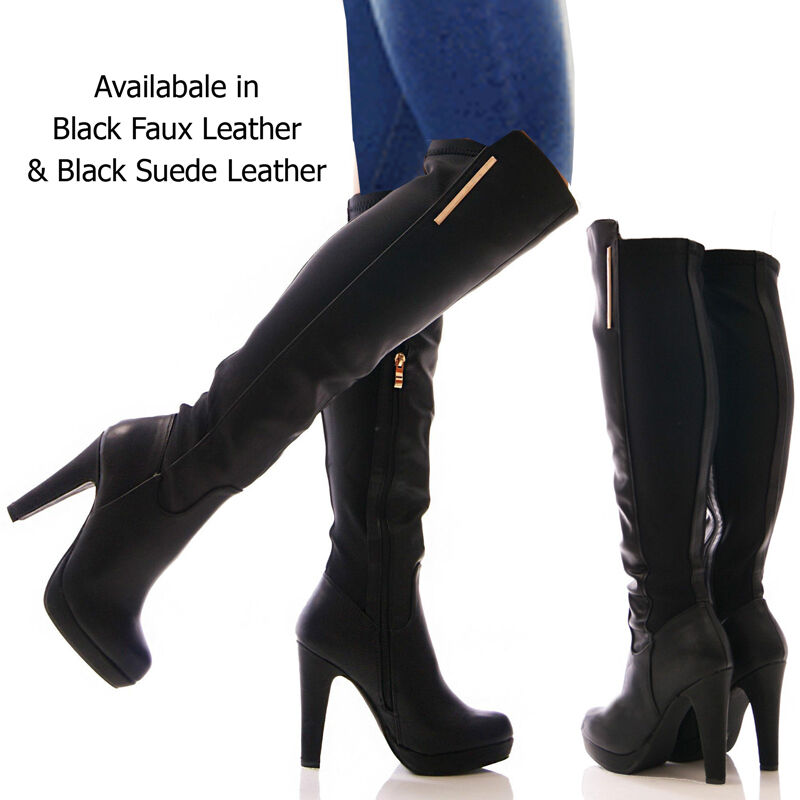 GIRLS Mujer KNEE HIGH STILETTO HEELS LADIES LONG SEXY STILETTO HIGH THIGH LEATHER botas SIZE 48c304