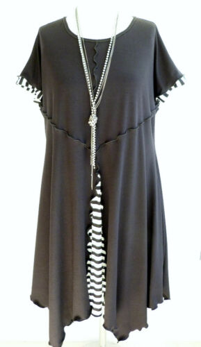 Quirky UK Top made C8 Cap Dress Lagenlook Tunica Top New Stripe Black in Sleeve FZqEEwf
