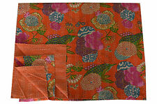 Orange Handmade Indian Bedspread Bedding Reversible Kantha Quilt Throw Blanket